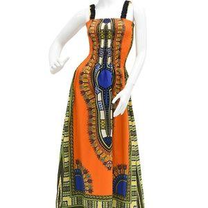 Ethnic print orange multicolored Dress one size